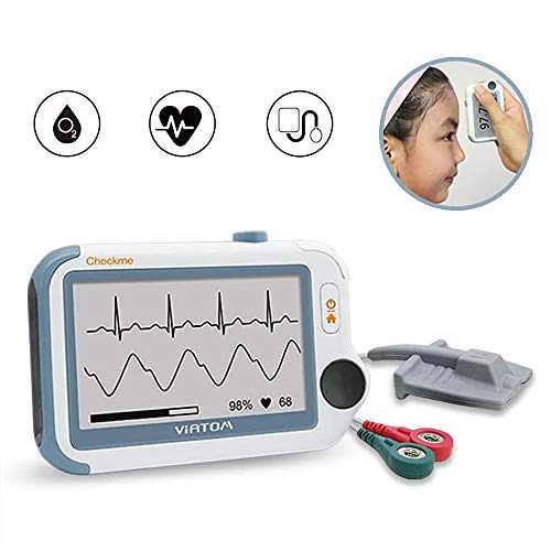 Health Monitor, Blood Oxygen Monitor, Infrared Forehead Thermometer, Heart Monitor, Blood Pressure Monitor All in 1, APP for Phone & PC, Portable 24h Wireless Remote Monitor