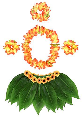 KEFAN Gonna a Foglia Hula e Gonna Hawaiana con Gonna in Erba con Fiori di Ibisco Artificiale per Costume Hula e Festa in Spiaggia (E)