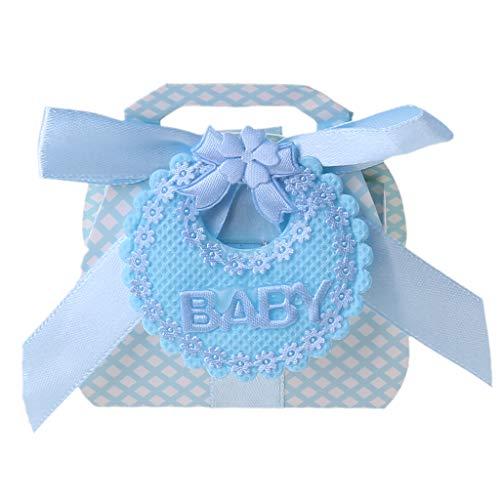 RK-HYTQWR 12 Piezas de Cajas de Dulces con Cinta para Baby Shower,Bautizo,Fiesta,Regalo,Bricolaje,Bolso de Mano Azul,Caja de Dulces de Boda,Babero,Bolso de Dulces