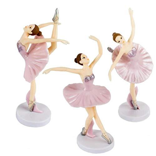 Case Cover 3pcs Ballettfiguren -tänzer Statue Ornamente Ballett-mädchen-Kuchen-Dekorationen Mädchen Abbildung Sammlung Spielset Puppe Spielzeug Liebes Geschenk