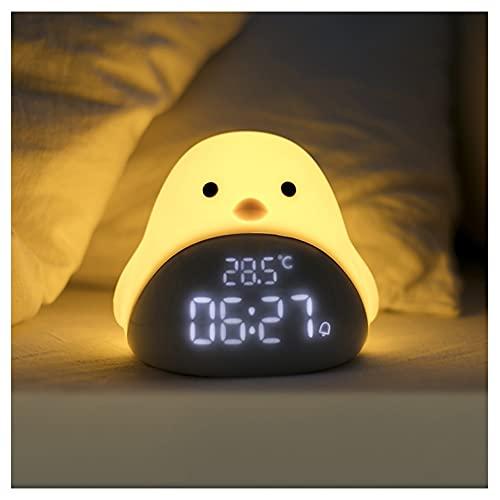 Reloj despertador electrónico inteligente para niños con cargador USB, hora, fecha, indicador de temperatura, función de repetición, lámpara de noche (color amarilla)