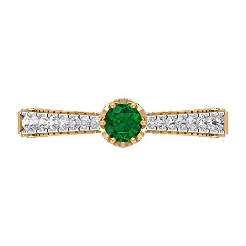 Anello vintage con smeraldo, anello in oro solitario con pietre laterali (4 mm smeraldo), 14K Giallo oro, Size:EU 59