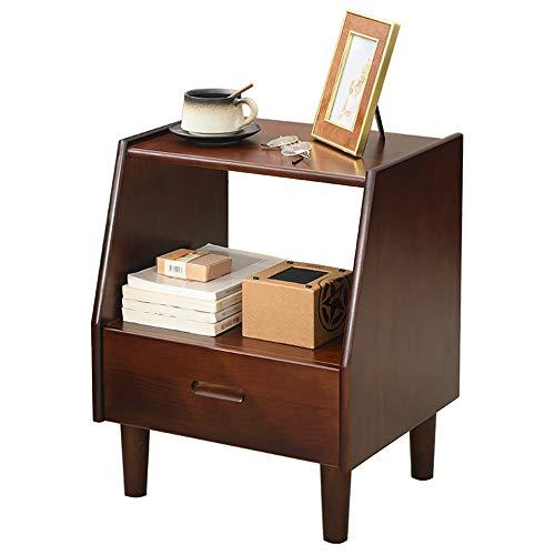Salontafel van hout met nachtkastje voor de woonkamer, poten van massief hout, lade en open vak, hoekig design, handgreep met arco, eenvoudig de poten A+