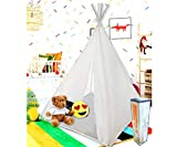 Teepee Tent for Kids | Tepee Play Tent Indoor and Outdoor Portable | Play Tent for Boy and Girls | Childrens Pop Up Tee Pee Playhouse Fort | Carry Case Included | White