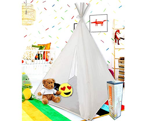 Teepee Tent for Kids   Tepee Play Tent Indoor and Outdoor Portable   Play Tent for Boy and Girls   Childrens Pop Up Tee Pee Playhouse Fort   Carry Case Included   White