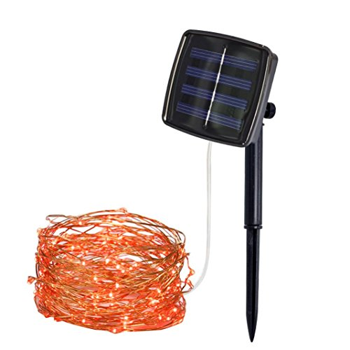 Guirlande lumineuse Taottao de 10 m - En cuivre - Avec 100 lumières - Fonctionnement à énergie solaire -Décoration féerique de fête, Red, 6.5cm*2.2cm*6.5cm
