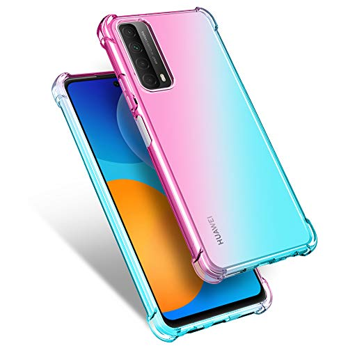 MISKQ Cover per Huawei P Smart 2021, Custodia TPU Silicone Case Shock Absorption Corner Cushion Bumper Back Ultra Leggere Silicone Ultra Sottile Case(Rosa/Verde)