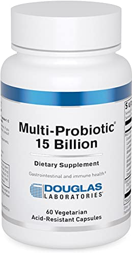 Douglas Laboratories - Multi-Probiotic 15 Billion - Multi-Strain Shelf Stable Probiotic with Prebiotic FOS - 60 Vegetarian Acid-Resistant Capsules