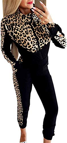 Geagodelia2 Pezzi Completo da Donna Leopardata Nero Maniche Lunghe Felpa con Cerniera +Pantaloni Tuta da Donna Sportiva Abiti Donne Casual Autunno alla Moda