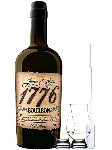1776 Straight Bourbon Whiskey 0,7 Liter + 2 Glencairn Gläser + Einwegpipette 1 Stück