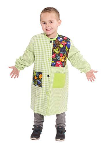 Ardeco's - Baby o bata colegio con botones estampado calavera verde (2)