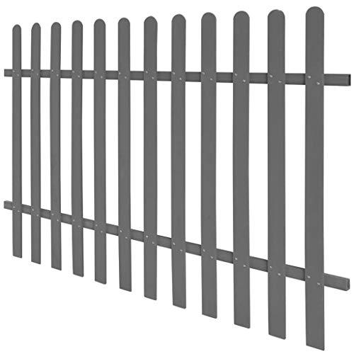 UnfadeMemory WPC Lattenzaun Gartenzaun mit 12 Latten Terrassenzaun aus Holz-Faser-Verbundwerkstoff Außenbereich WPC-Zaun 60/80/100/120cm Optional (200 x 120 cm, Grau)
