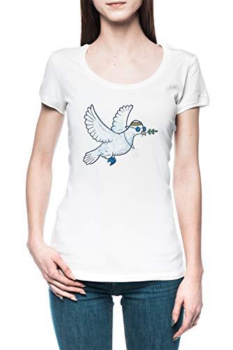 Das Hippie Taube Damen T-Shirt Tee Weiß Women's White T-Shirt