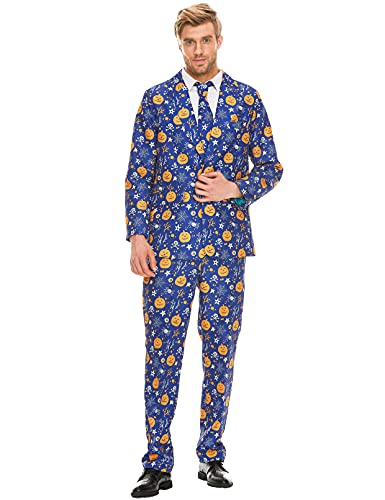 ACH Halloween Suit for Men Party Pumpkin Costume Adult in Different Prints 3PCS Ugly Funny Men's Holiday Jacket Outfit Cosplay with Tie Pants Set S