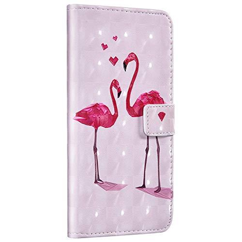 Compatible avec Samsung Galaxy A20 / A30 Housse en Cuir Coque Brillante Glitter 3D Effet Portefeuille Pochette Étui Flip Case Livre Wallet Coque de Protection Magnétique,Flamant Rose