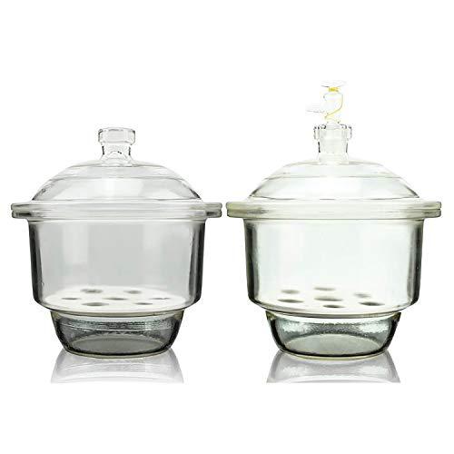 "KimLab 300mm / 12"" Glass Vacuum Desiccator Jar, Lab Dessicator Dryer with Porcelain Plate, Ground Glass Stopcork"