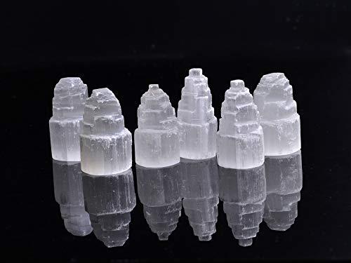 AMOYSTONE 6 Stück Selenit-Kristall Wolkenkratzer Turm Steine Weiß Marokko für Heilung, Reiki, Heimdekoration 5 cm Höhe