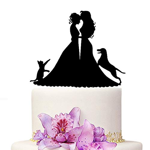 YAMI COCU Wedding Cake Topper, Black Color Acrylic Silhouette Couple Bride and Bride With Dog And Cat Wedding Party Decorations