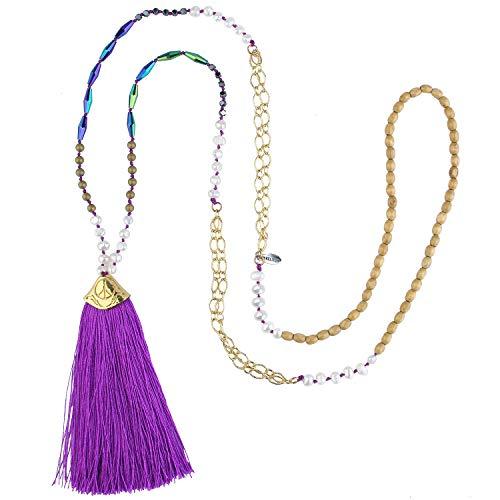 KELITCH Neu Perle l Frau Strang Halskette Gold Frieden Zeichen Anhänger Ketten Halskette Quaste Halskette (Purple 6E)