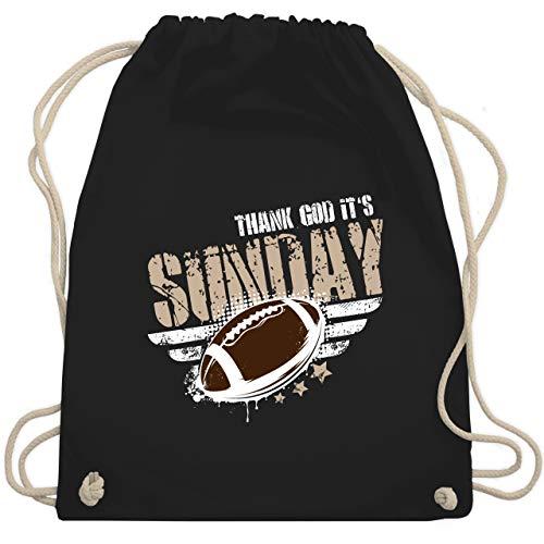 Shirtracer American Football - Thank God Its Sunday Football - Unisize - Schwarz - football - WM110 - Turnbeutel und Stoffbeutel aus Baumwolle