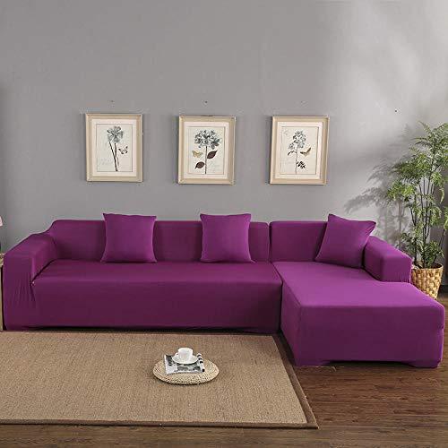 lxylllzs Sofa Couchbezug Sesselbezug 4 Sitzer,Einfarbige Sofabezug, EIN Set aus Vier Jahreszeiten All-Inclusive-Stoffbezug - Vier Jahreszeiten Fuchsia_255-310CM,SofaüBerwurf Stretch Weich