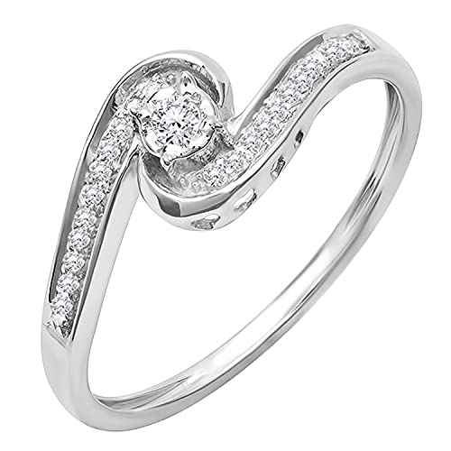 Dazzlingrock Collection Anillo de compromiso de 0,15 quilates de diamante blanco redondo para mujer con giro moderno y elegante, oro blanco de 18 quilates, talla 5,5
