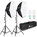 HPUSN Softbox Lighting Kit 2x76x76cm Photography Continuous Lighting System Photo Studio Equipment with 2pcs E27 Socket 85W 5400K Bulbs for Filming Model Portrait Product Fashion Photography