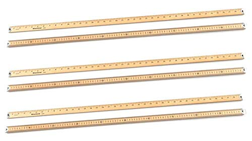 hand2mind - 511 Hardwood Double-Sided Meter-Stick With Metal Tips (Pack of 6)