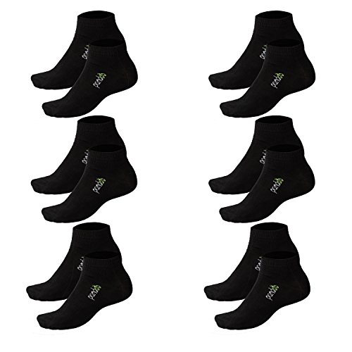 pandoo 6er Packung Bambus Sneaker-Socken Unisex - Perfekt für Sport & Freizeit - Atmungsaktiv, Anti-Schweiß, Komfortbund ohne Gummi, Geruchshemmend & Antibakteriell (35/38, Schwarz)