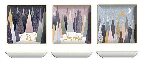 Sara Miller Portmeirion SMFP79247-XG Lot de 3 assiettes carrées en porcelaine Motif pin givré 11,8 cm