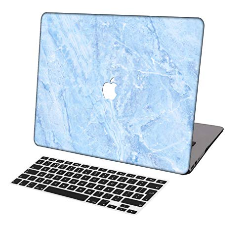 Laptop Case for MacBook Air 13 inch Model A1932,Neo-wows(2 in 1 Bundle) Plastic Ultra Slim Light Hard Shell Cover UK Keyboard Cover Compatible MacBook Air 13 inch 2018 Release,Marble A 203
