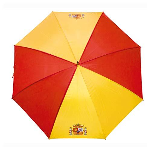 Paraguas de la Bandera Española GRANDES-ANTIVENTISCA-126 CM- con Escudo ESPAÑA-Tela Impermeable -Colores Vistosos- Escudo de España- Paraguas de Golf