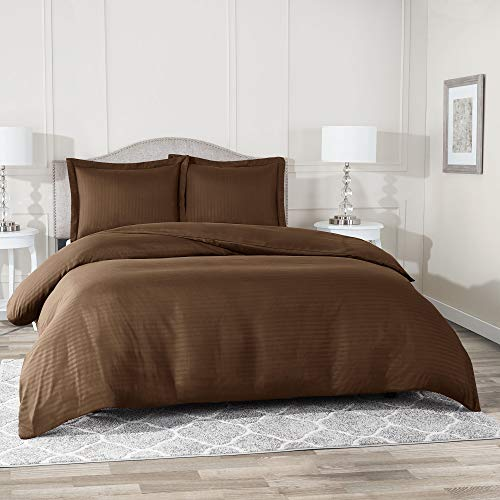 """Nestl Bedding Duvet Cover 3 Piece Set – Ultra Soft Double Brushed Microfiber Bedding – Damask Dobby Stripe Comforter Cover and 2 Pillow Shams - King/Cal King 90"""" x 104"""" – Chocolate Brown"""