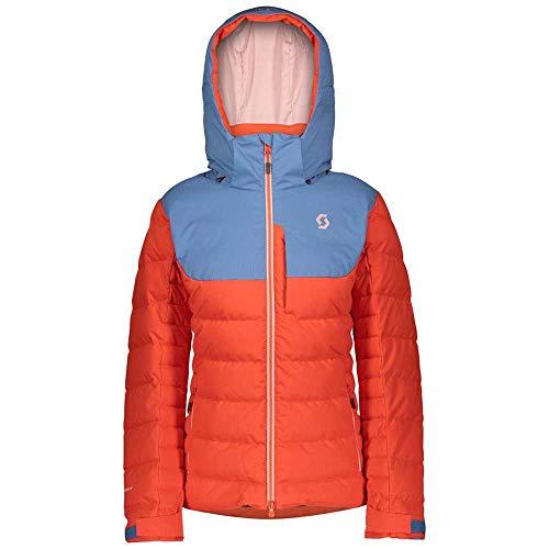 Scott W Ultimate Down Jacket Colorblock-Orange, Damen Daunen Jacke, Größe L - Farbe Riverside Blue - Grenadine Orange