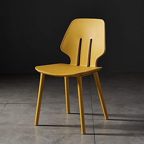 LIXUDECO Silla de plástico nórdico, sillas de comedor modernas para la cocina, respaldo simple, taburete de ocio, silla de escritorio, silla gruesa (color: amarillo)