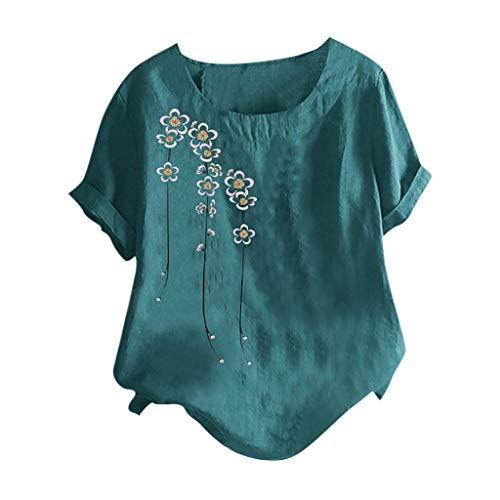 Piabigka Donna Tunic Top Girocollo Manica Corta Camicetta Estate Blusa T-Shirt Donna Nuovo Tunica T-Shirt Maglietta Jacquard Top