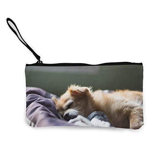 Yuanmeiju Hund schläft auf dem Bett Leinwand Geldbörse Exquisite Geldbörsen Kleine Leinwand Geldbörse Wird verwendet, um Münzwechsel, ID und andere zu halten