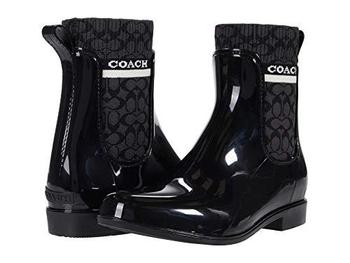 COACH Rivington Rain Bootie Black Rubber 8 B (M)