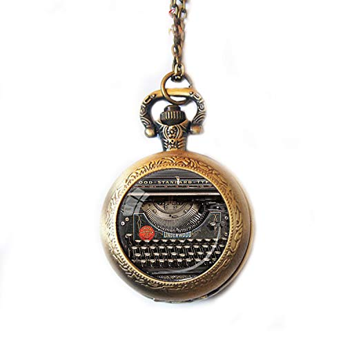 Taschenuhr/Taschenuhr im Vintage-Stil, für Schreibmaschine, Schreibmaschine, Uhr, Halskette, Schriftsteller, Uhr, Schwarz/Rot/Grau