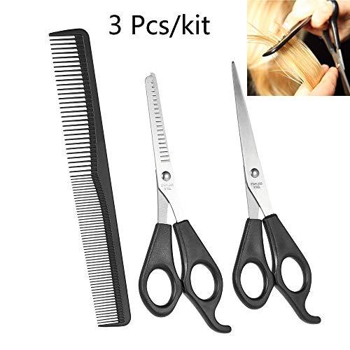 Tijeras de peluquería de acero inoxidable, 3 unidades, para cortar el pelo, tijeras de peluquería, dientes finos, tijeras, tijeras planas, peluquería y peinado.