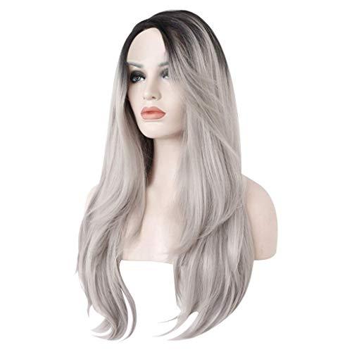 Pelucas onduladas de color gris sexy con casquillo de peluca, duraderas, fáciles de usar y rizadas con pelo de bebé, línea de pelo natural resistente al calor, calidad superior a la seguridad.