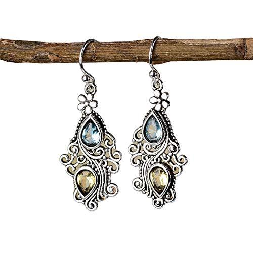 Ruby569y Pendientes colgantes para mujer y niña, diseño vintage de gota de agua con diamantes de imitación de flor, regalo de joyería