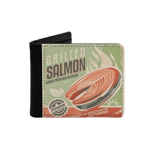 Cartera Delgada de Cuero para Hombre,Salmón a la Parrilla Retro Filete de...