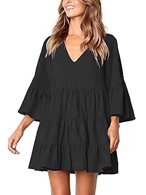MISSLOOK Women's Short Sleeve Tunic Dress V Neck Ruffle Loose Mini Dress Swing Shift Dresses
