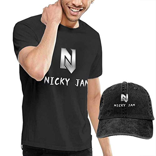 Baostic Camisetas y Tops Hombre Polos y Camisas, Men Nicky Jam Cool Short Sleeve T Shirts&Six Panel Baseball Cap Caps