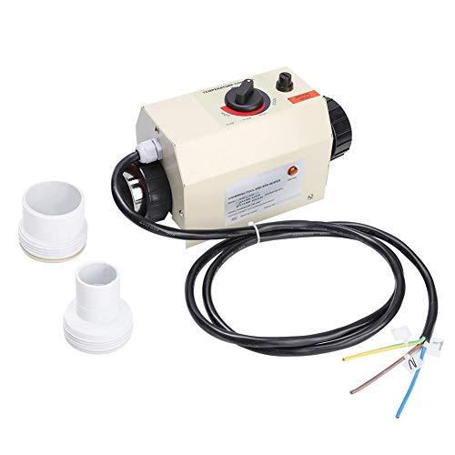 Termostato de calentador de agua, termostato de temperatura ajustable eléctrico de acero inoxidable portátil de 3Kw para bañeras de hidromasaje, piscina pequeña subterránea y bañera(EU Plug)