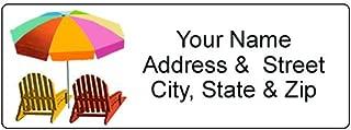 Beach Chairs Address Label - Customized Return Address Label - 90 Beach Umbrella Labels