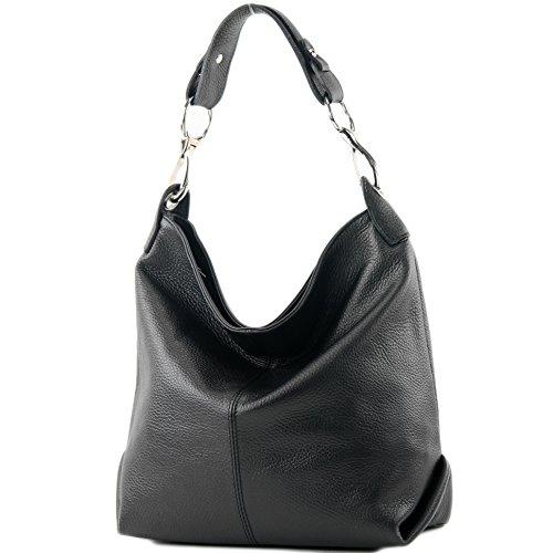 modamoda de - T168 - ital Schultertasche Umhängetasche aus Leder, Farbe:Schwarz