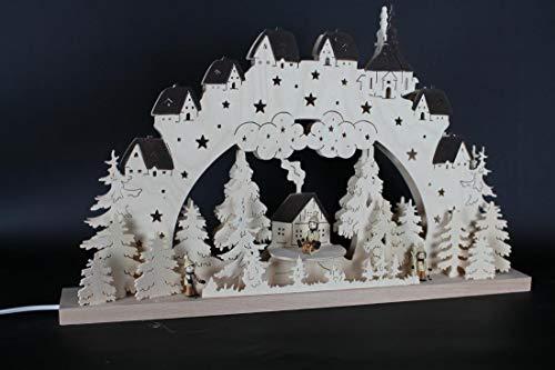 Verlichte zwemboog winterkinderen met huisjes grootte = 60x39cm NIEUW Ertsgebergte lichtboog lichtboog