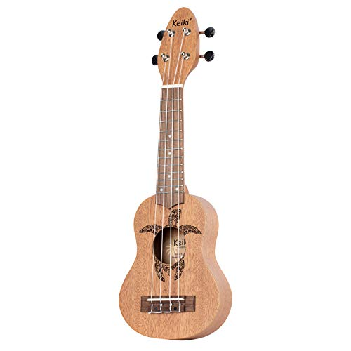 KEIKI Ukulele 4 String Lefty Tortuga Sopranino Tortuga grabada en láser Clavijero...